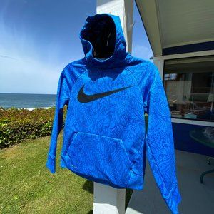 NIKE Blue Dri-Fit Hoodie Huge Logo Medium
